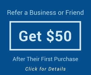 get $50 when referring a business or friend to plastic pallets and bins.